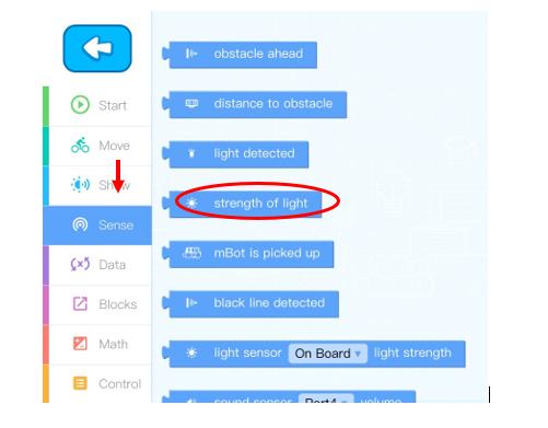 Cảm biến ánh sáng trên app mBlock