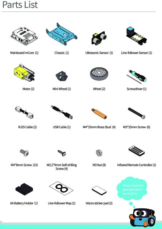 Danh sách thiết bị trên mBot V1.1